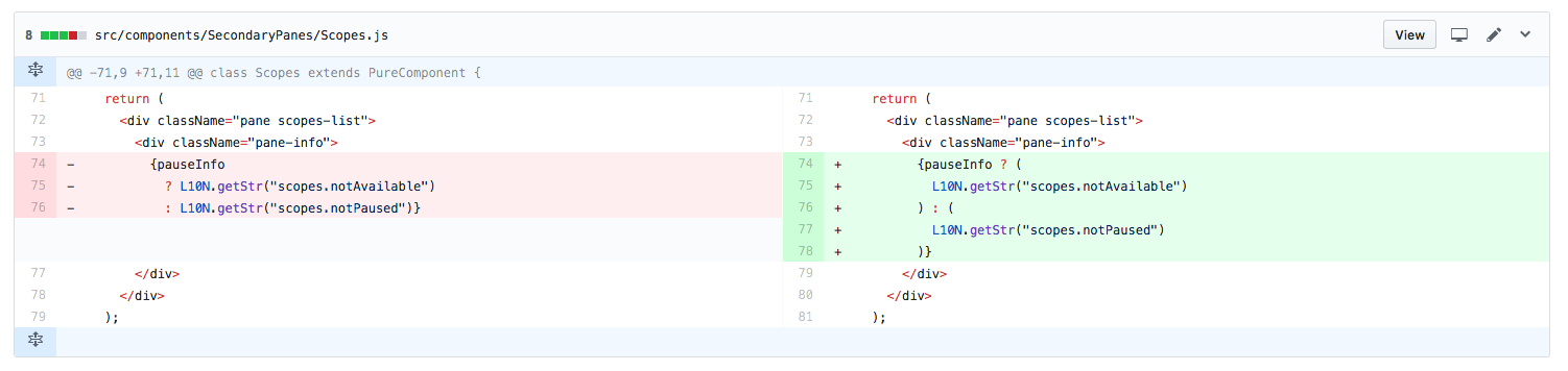 GitHub Diff showing a ternary containing internationalization strings appearing inside a JSX element being converted to use JSX-mode style ternaries